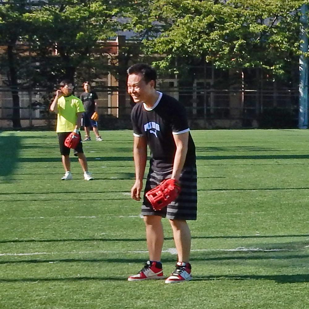 ボールきたら、どないしよう~、怖い~。