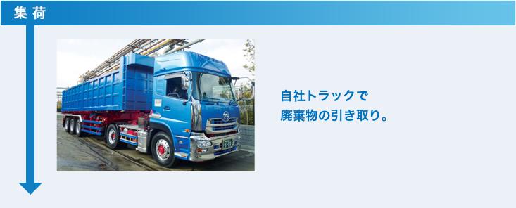 集荷 自社トラックで廃棄物の引き取り。